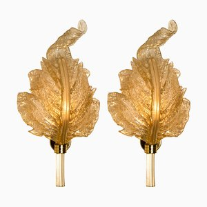 Gold and Murano Glass Wall Sconces from Barovier & Toso, Italy, Set of 2