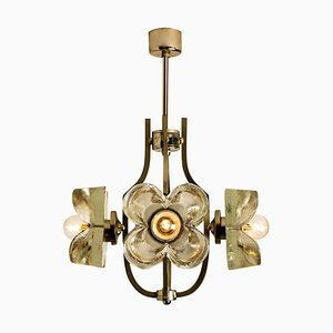 Sische Glass and Chrome Chandelier, 1960s