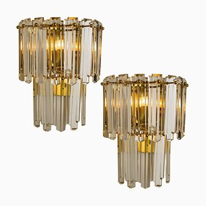 Large Faceted Glass and Gilt Brass Sconces by J. T. Kalmar, Vienna, 1960s, Set of 2