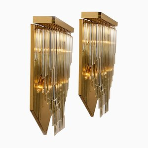 H29.9 Venini Style Murano Glass and Gilt Brass Sconce, 1960s