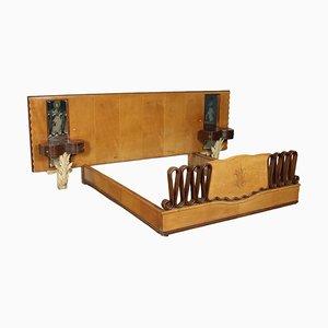 Beech Veneer Double Bed, Italy, 1930s