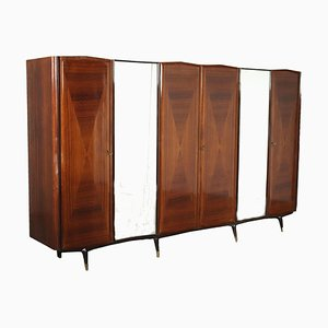 Cabinet in Veneered Wood, Polyester & Mirrored Glass, Italy, 1950s or 1960s