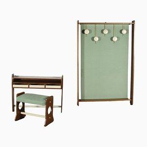 Flur Möbel aus furniertem, lackiertem & gebeiztem Holz, Messing & Stoff, Italien, 1960er oder 1970er, 3er Set