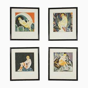 Stencil Art Déco, set di 4