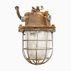 Brutalist Industrial Clear Glass Hanging Cage Lamp