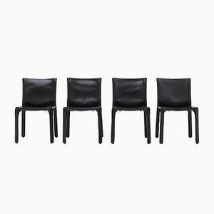 CAB Chairs in Black Leather by Mario Bellini for Cassina, Italy, 1977, Set of 4