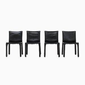 CAB Stühle aus schwarzem Leder von Mario Bellini für Cassina, 1977, 4er Set