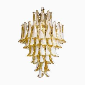 Großer Gelber Murano Glas Kronleuchter im Stil von Mazzega