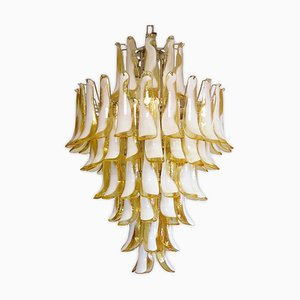 Large Yellow Murano Glass Chandelier in the Style of Mazzega