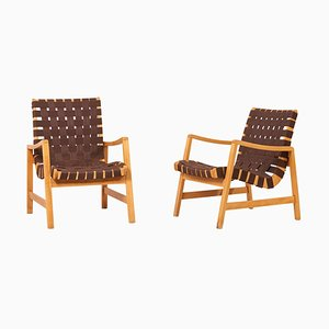 Lounge Chairs in Brown Webbing by Jens Risom for Knoll, 1950s, Set of 2