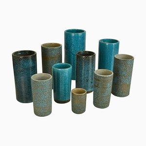 Blue Ceramic Cylinder Vases by Groeneveldt, Set of 10
