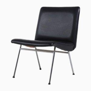 Danish Architectural Chair in Black Vinyl, 1960s