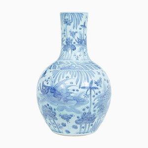 Große dekorative chinesische Keramikvase in Blau & Weiß