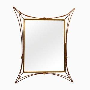 Italienischer vergoldeter Schmiedeeisen Spiegel, 1960er
