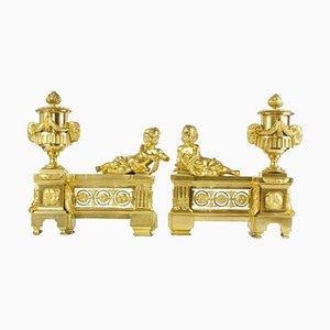 Französische Louis XVI Kamin Kaminböcke im Stil von Jean Luis Prieur, 2er Set
