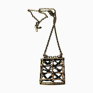 Rectangular Vintage Scandinavian Bronze Necklace, 1970s