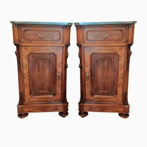 Louis Philippe Bedside Tables in Walnut with Marble Tops, Set of 2