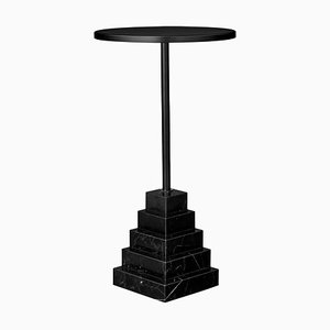 Marble and Steel Side Table with Gold Top