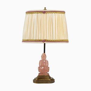 Bronze Lamp with Stone Buddha Base