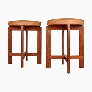 Mid-Century Teak and Leather Stools by Uno & Östen Kristiansson for Luxus, Sweden, Set of 2