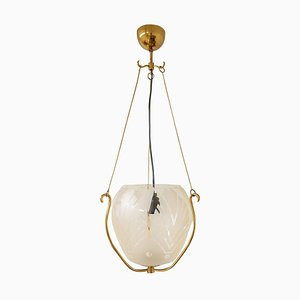 Swedish Art Deco Pendant in Brass and Glass, 1940s