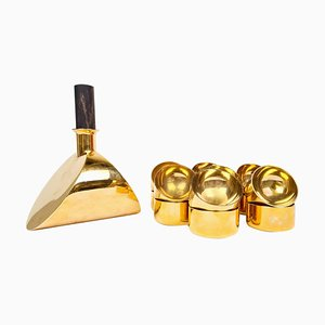 Decanter and Bowls in Brass by Pierre Forsell for Skultuna, Sweden, 1970s, Set of 15