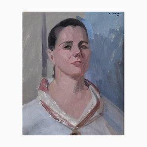 Albert Chavaz, Portrait einer Frau im Walliser Schal, 1977