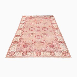 Small Vintage Turkish Handmade Floral Oushak Area Rug in Red Wool