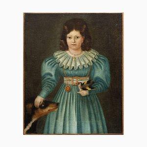 Portrait Provincial d'une Fille avec un Oiseau et un Chien, 19ème Siècle