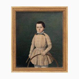 Provinzielles französisches Schul-Portrait eines Jungen mit Reifen, 19. Jh