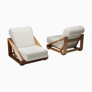 Italian Geometric Boucle Lounge Chairs by Pamio and Toso for Stilwood