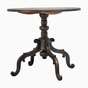 Großer schwarzer schwedischer Tisch mit neigbarer Tischplatte, 19. Jh