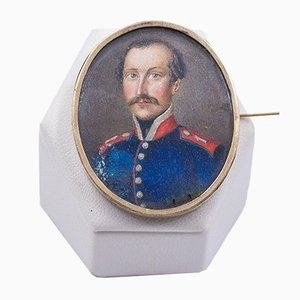 Antique 14K Yellow Gold Brooch with Soldier Miniature, Late 1800s