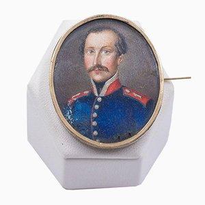 Broche Antique en Or Jaune 14K avec Miniature de Soldat, Fin 1800s