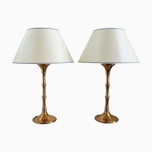 Lampes de Bureau ML 1 Mid-Century en Bambou et Laiton par Ingo Maurer pour Design M, Allemagne, 1968, Set de 2