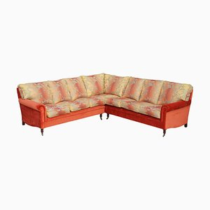 Signature Large 7 Seater Corner Sofa with Floral Velour Upholstery by George Smith