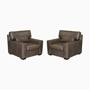 Large Grey Leather Armchairs or Love Seats, Set of 2