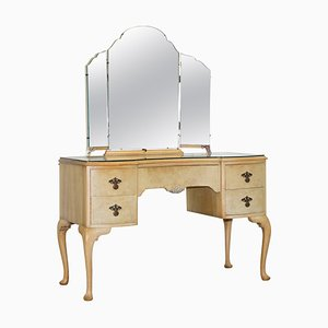 Vintage Art Deco Light Burr Walnut Dressing Table with Tri Fold Mirrors