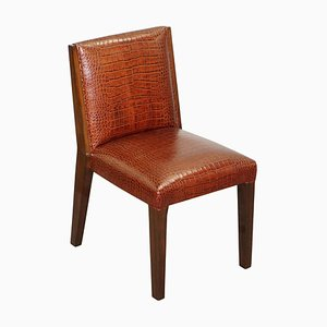 Brown Faux Crocodile Leather Office or Captain's Chair by Ralph Lauren