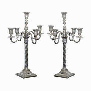 Antique Solid Sterling Silver Candlesticks by Henry Wigfull, 1904, Set of 2