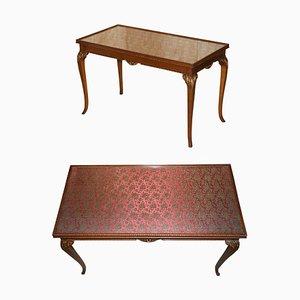 Vintage Schreibtisch aus Hartholz mit Seide bestickter Glasplatte