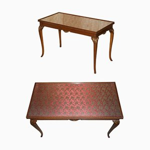 Vintage Writing Desk in Hardwood with Silk Embroidered Glass Top