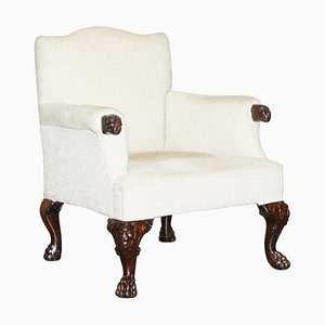 Antique Hand Carved Lion's Paw Leg Club Armchair