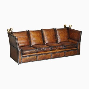Antique Hand Dyed Brown Leather 4-Seater Drop Arm Sofa from Knoll