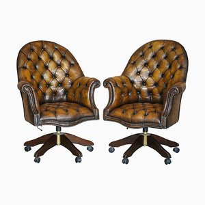 Restored Brown Leather Godfather Director's Chairs, Set of 2