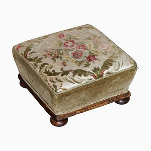 Victorian Walnut Embroidered Footstool with Tapered Sides