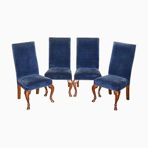 High Back Esszimmerstühle aus Napoleonblauem Samt von Ralph Lauren, 4er Set