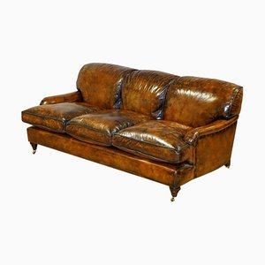 Fully Restored Hand Dyed Leather Sofa with Feather Filling in the Style of Howard & Sons