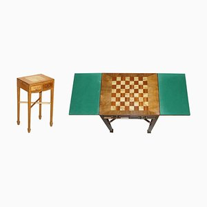 Table de Jeux Vintage en Noyer et Bois de Satin