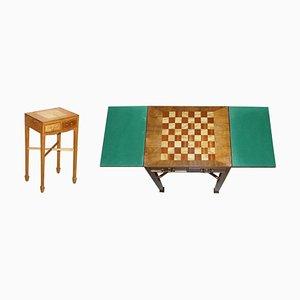 Vintage Walnut & Satinwood Games Table